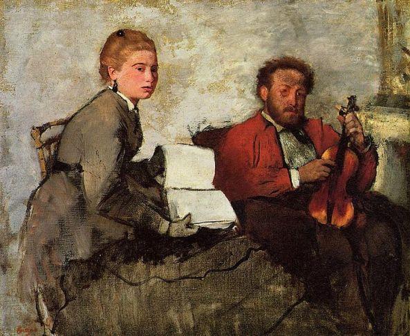 Edgar Degas - Violoniste et jeune femme tenant un cahier de musique