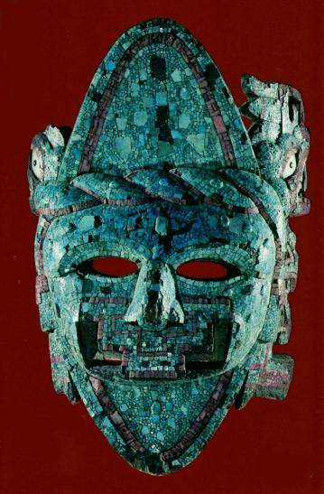 Masque de Chalchiuhtlicue - Déesse des eaux (précolombien) - Mosaïque de turquoises