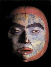 Masque tlingit de chaman représentant la Lune. (XIXème siècle).