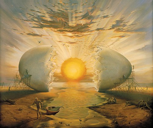 Vladimir Kush (né à Moscou en 1965) - Lever de soleil vu de l'océan