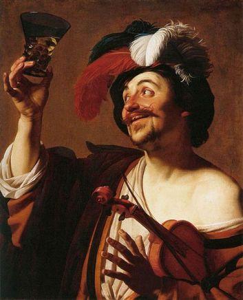 Gerard von Honthorst - Joyeux violoniste au verre de vin - 1624