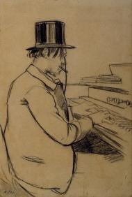 Satie jouant de l'harmonium par Santiago Rusiñol